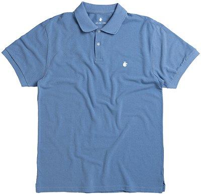 Camisa Polo Masculina Básica Em Piquet - Azul