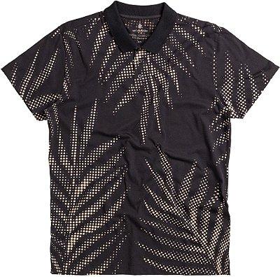 Camisa Polo Masculina Estampada Folha De Palmeira Meia Malha - Preto