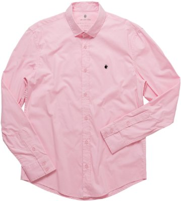 Camisa Social Básica Masculina Lisa Manga Longa - Rosa