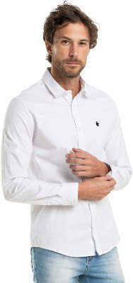 Camisa Social Básica Masculina Lisa Manga Longa - Branco