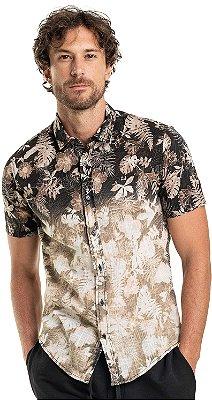 Camisa Masculina Estampada Floral Manga Curta - Preto