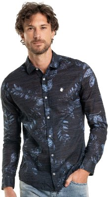 Camisa Masculina Estampada Folhagens Manga Longa - Azul
