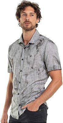 Camisa Masculina Efeito Texturizado Amassado De Manga Curta - Cinza