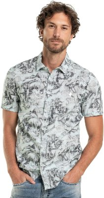 Camisa Unissex Manga Curta Estampa Floral Abstrata - Turquesa