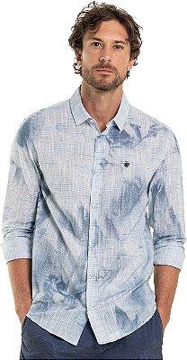 Camisa Masculina Manga Longa Efeito Texturizado Amassado - Azul