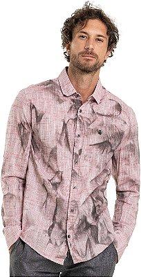 Camisa Masculina Manga Longa Efeito Texturizado Amassado - Vermelho