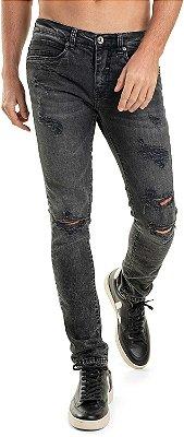Calça Jeans Masculina Destroyed Com Bolsos Modelagem Slim - Denim