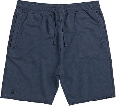 Bermuda Moletom Masculina Básica Elástico Bolso Frontal - Azul