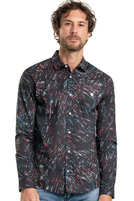 Camisa Masculina Estampada Efeito Tinta Manga Longa - Preto