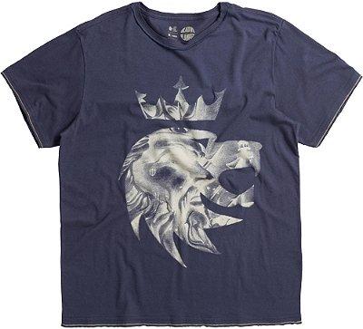 Camiseta Estampa Leão Netuno Gola Redonda Malha Algodão - Azul
