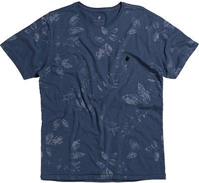 Camiseta Estampa Folhas Gola Redonda Malha Algodão - Azul