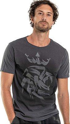 Camiseta Estampa Leão Abstrato Gola Redonda Malha Algodão - Preto