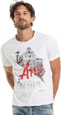 Camiseta Estampa Amsterdam Arquitetura Gola Redonda Malha Algodão - Branco