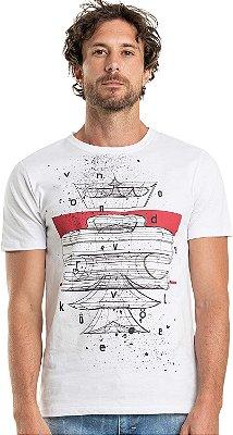 Camiseta Estampa Leão 360° Gola Redonda Malha Algodão - Branco