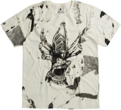 Camiseta Estampa Deusa Hindu Gola Redonda Malha Algodão - Bege