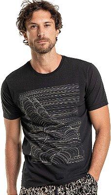 Camiseta Estampa Linhas Corpo Nú Gola Redonda Malha Algodão - Preto