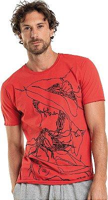 Camiseta Estampa Mulheres Gola Redonda Malha Algodão - Vermelho