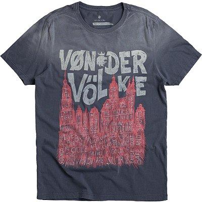 Camiseta Estampa Cidade Amsterdam Gola Redonda Malha Algodão - Azul