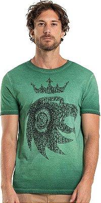 Camiseta Estampa Leão Madeira Gola Redonda Malha Algodão - Verde