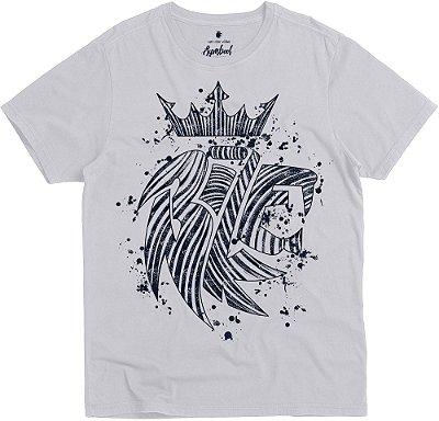 Camiseta Estampa Leão Abstrato Gola Redonda Malha Algodão - Branco