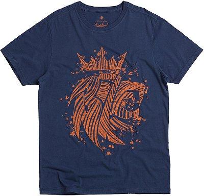 Camiseta Estampa Leão Abstrato Gola Redonda Malha Algodão - Azul