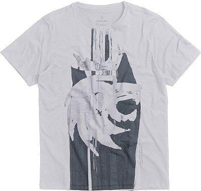 Camiseta Estampa Leão Pintura Gola Redonda Malha Algodão - Branco