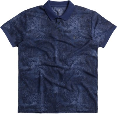Camisa Polo Masculina Estampada Malha Diferenciada - Azul