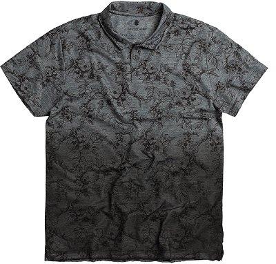 Camisa Polo Masculina Estampada Floral Malha Diferenciada - Preto