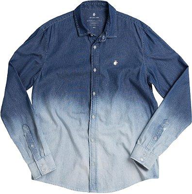 Camisa Jeans Masculina Efeito Degradê Manga Longa - Denim