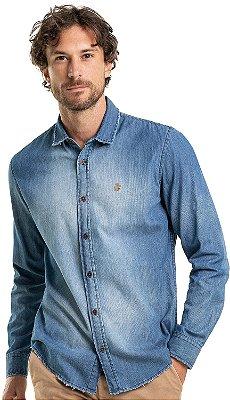 Camisa Jeans Masculina Desfiada Na Barra Manga Longa - Denim