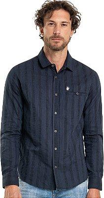 Camisa Masculina Listrada Manga Longa Com Bolso - Azul