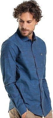 Camisa Masculina De Manga Longa Efeito Jeans - Azul