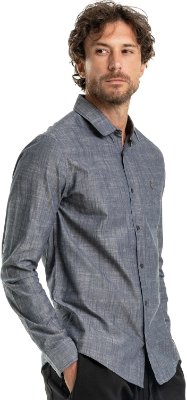Camisa Masculina De Manga Longa Efeito Jeans - Cinza