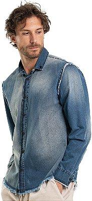 Camisa Jeans Masculina Acabamento Desfiado Manga Longa - Denim