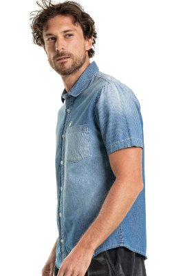 Camisa Jeans Masculina Com Bolso Manga Curta - Denim