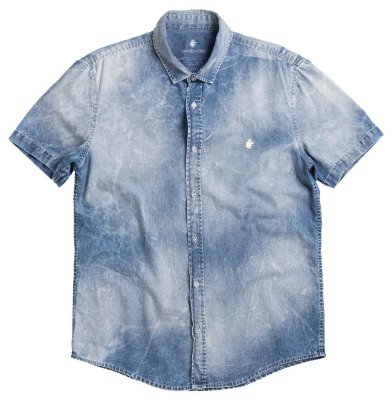 Camisa Jeans Masculina Efeito Used Manga Curta - Denim