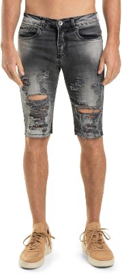 Bermuda Jeans Masculina Destroyed Modelagem Slim - Denim