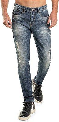 Calça Jeans Masculina Puídos Com Bolsos Modelagem Slim - Denim