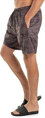 Bermuda Banho Masculina Estampa Folhas Elástico - Cinza
