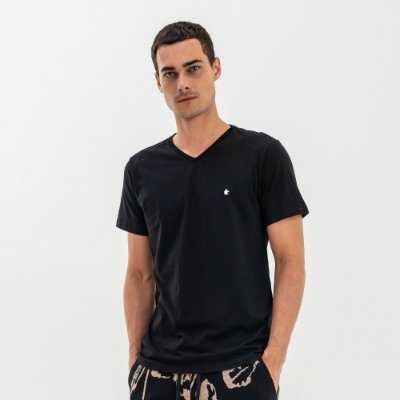 Camiseta básica masculina de gola V - Preto