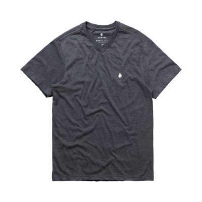 Camiseta básica masculina de gola V - Preto Mescla