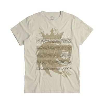 Camiseta masculina com estampa de leão e lettering - Bege