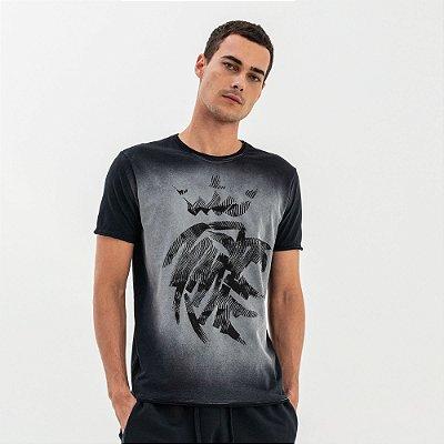 Camiseta masculina estampa de leão modelagem tradicional - Preto
