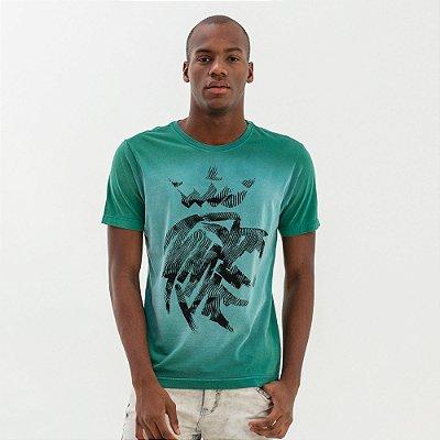 Camiseta masculina estampa de leão modelagem tradicional - Verde