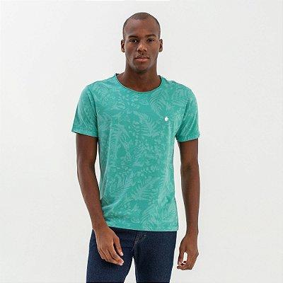 Camiseta masculina modelagem tradicional estampa folhagens - Turquesa