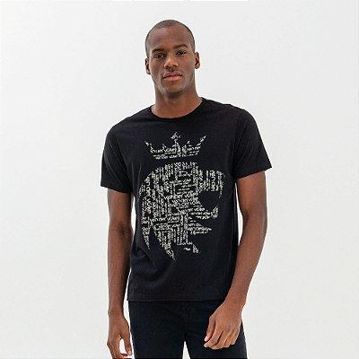 Camiseta masculina estampa leão e lettering Vøn der Völke - Preto