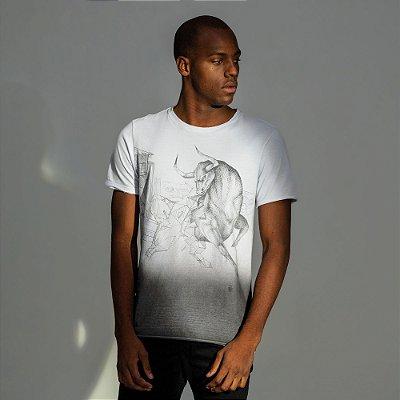 Camiseta masculina estampa do signo de Touro - Branco