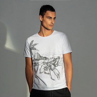 Camiseta masculina estampa do signo de Câncer - Branco