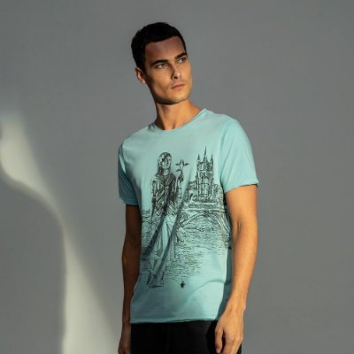 Camiseta masculina estampa do signo de Virgem - Turquesa