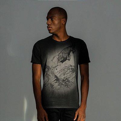 Camiseta masculina estampa do signo de Capricórnio - Preto